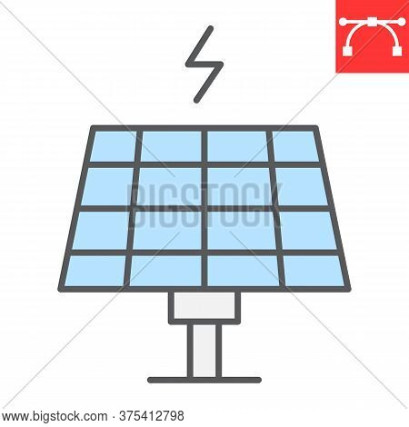 Solar Panel Color Line Icon, Energy And Ecology, Sun Solar Panel Sign Vector Graphics, Editable Stro