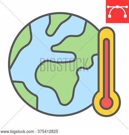 Global Warming Color Line Icon, Nature And Ecology, Planet With Thermometer Sign Vector Graphics, Ed