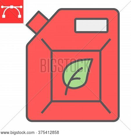 Biofuel Color Line Icon, Oil And Ecology, Jerrycan Sign Vector Graphics, Editable Stroke Colorful Li