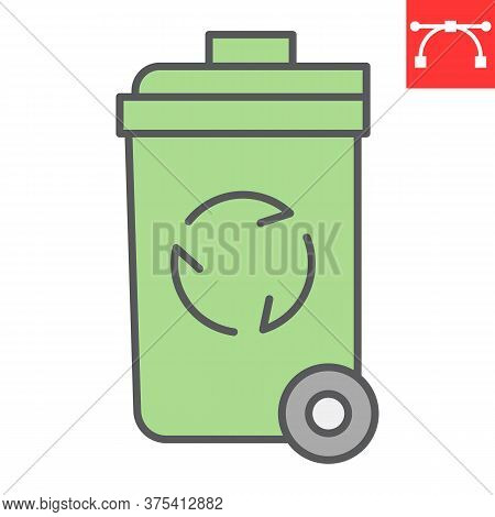 Recycle Bin Color Line Icon, Garbage And Ecology, Trash Bin Sign Vector Graphics, Editable Stroke Co