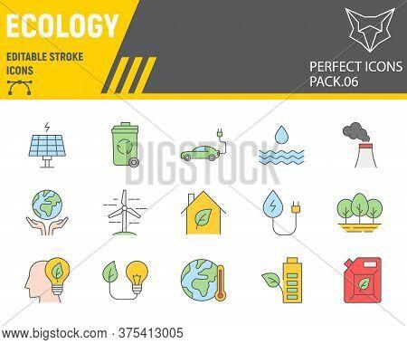 Ecology Color Line Icon Set, Eco Symbols Collection, Vector Sketches, Logo Illustrations, Environmen
