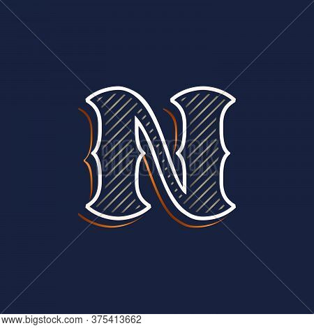 Vintage N Letter Logo With Line Decoration. Classic Serif Lettering. Vector Font Perfect To Use In A