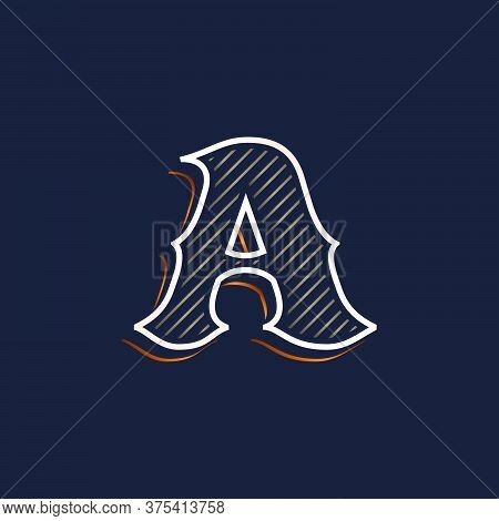 Vintage A Letter Logo With Line Decoration. Classic Serif Lettering. Vector Font Perfect To Use In A