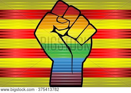 Shiny Lgbt Protest Fist On A Catalonia Flag - Illustration,  Abstract Grunge Catalonia Flag And Lgbt