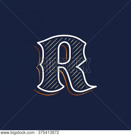 Vintage R Letter Logo With Line Decoration. Classic Serif Lettering. Vector Font Perfect To Use In A