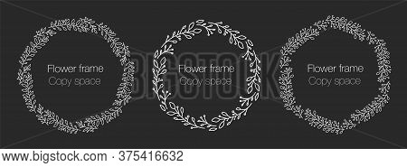 Vector Vintage Wreaths White On Dark Isolated. Collection Of Trendy Cute Floral Frames. Graphic Desi