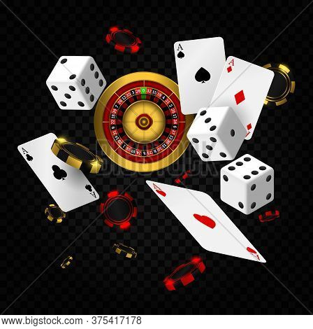 Casino Elements Vector Falling. Casino Roulette With Chips, Red Dice Realistic Gambling Poster Banne