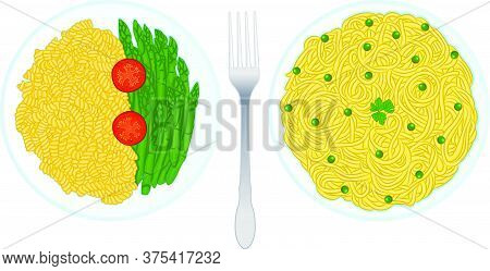 Set Of Classic Italian Pasta Dishes Containing Fusilli Pasta With Tomatoes And Asparagus And Spaghet