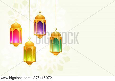 Hanging Colorful Eid Festival Lamps Beautiful Background