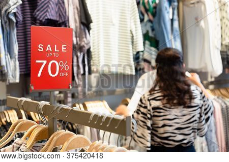 Sale Label Stand Template On Shelve In Female Clothing Store For Sale Promotion And Discount Informa
