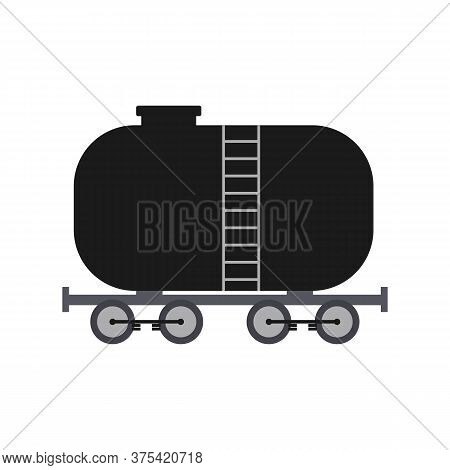 Fuel Tank Or Cistern For Oil Transportation Flat Vector Illustration Isolated.