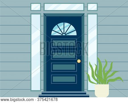 Vintage House Doorway Decorated With Stained Glass Flat Vector Illustration.