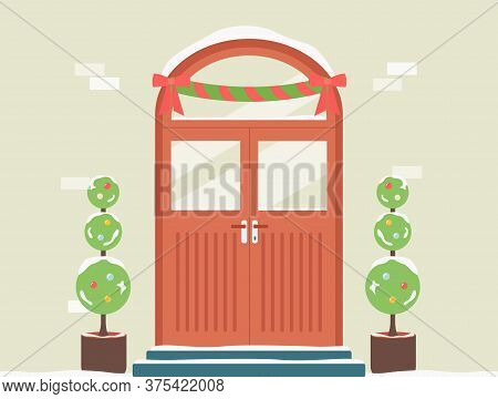Doorway Decorated For Christmas With Garland And Plants Vector Illustration.