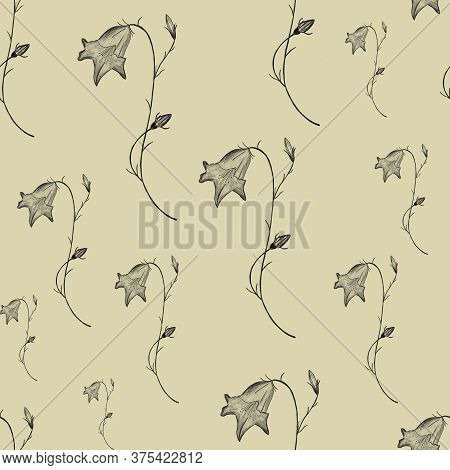 Pencil Drawing Bellflowers On Beige/brown Background. Elegant Linen, Textile Seamless Pattern. Print