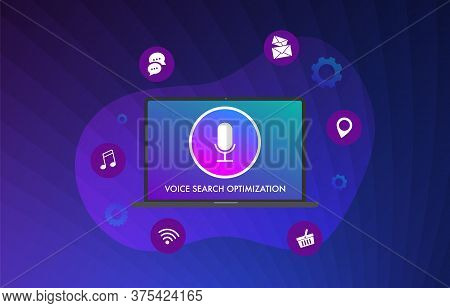 Voice Search Optimization Flat Vector Illustration Concept. Optimize The Site For Audio Search Using