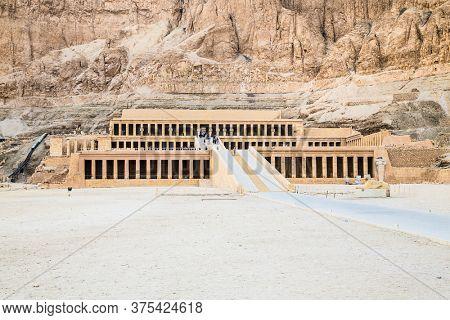 Luxor, Egypt - Jan 28, 2020: Temple of Hatshepsut, Luxor. The Mortuary Temple of Hatshepsut, also known as the Djeser-Djeseru is a mortuary temple of Ancient Egypt