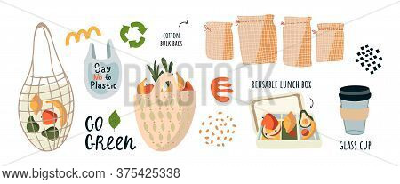 Go To Zero Waste, Without The Plastic Slogan Go Green. Reusable Eco Food Bags, A Set Of Cotton Bags,