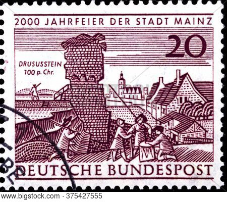 02 08 2020 Divnoe Stavropol Territory Russia The Postage Stamp Germany 1962 The 2000th Anniversary O