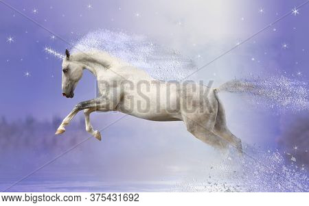White Unicorn In The Snow On A Purple Background