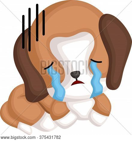 A Vector Of A Cute Crying Beagle