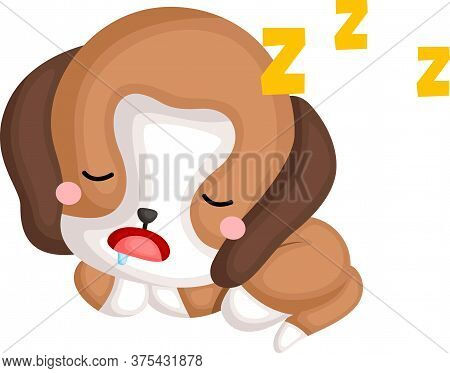 A Vector Of A Cute Sleeping Beagle