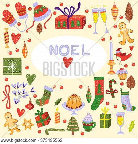Christmas Items Large Vector Set With Cookies, Gingerbread, Toys, Boxes, Mittens, Socks, Candies, Ca