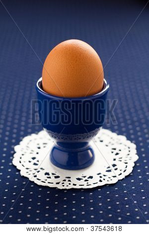 An egg on a blue background