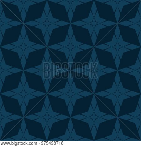 Vector Geometric Seamless Pattern With Star Shapes, Diamonds, Rhombuses, Grid, Net, Lattice. Simple