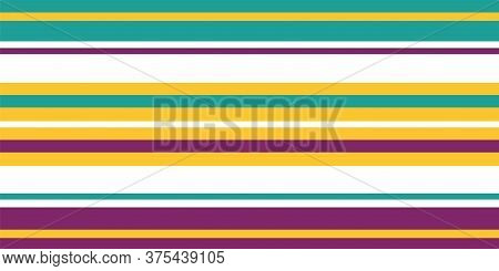 Bright Vector Striped Seamless Border. Banner Of Turquoise, Purple, Burgundy, Yellow, White Thin And