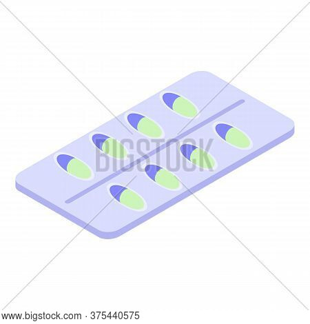 Measles Capsule Blister Icon. Isometric Of Measles Capsule Blister Vector Icon For Web Design Isolat