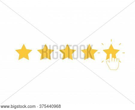 Five Yellow Stars With Clicking Hand. Quality Rank Set. Best Choice Illustration. Hand Touching Last
