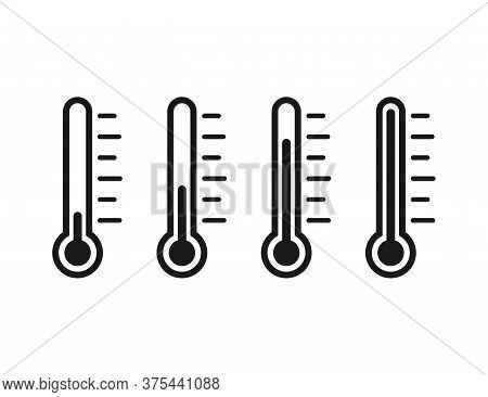 Set Of Thermometer Icons. Temperature Measuring Tool. Black Transparent Outline Degree Scale. Medici