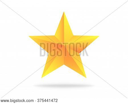 Realistic Yellow Star. Gold Rating Three-dimensional Award. Metallic Star Shape With Shadow. Rating