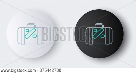 Line Suitcase For Travel And Stickers Icon Isolated On Grey Background. Traveling Baggage Sign. Trav