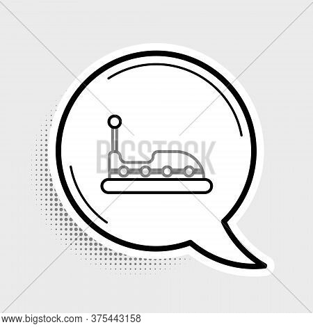 Line Bumper Car Icon Isolated On Grey Background. Amusement Park. Childrens Entertainment Playground