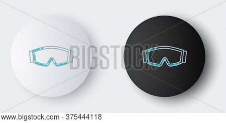 Line Ski Goggles Icon Isolated On Grey Background. Extreme Sport. Sport Equipment. Colorful Outline