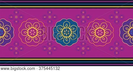 Vector Indonesian Batik Style Floral Seamless Border. Beautiful Banner With Stylized Purple , Gold,