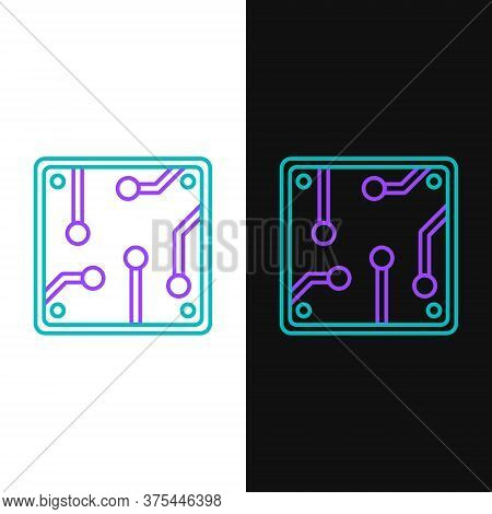 Line Processor Icon Isolated On White And Black Background. Cpu, Central Processing Unit, Microchip,