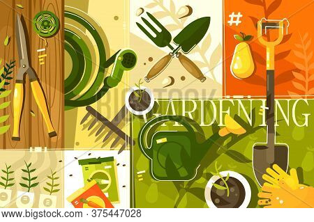 Gardening Abstract Background. Tools For Garden, Shovel