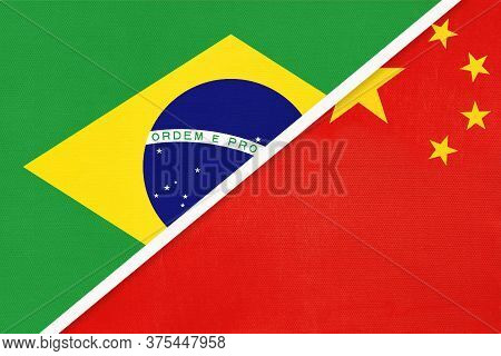 Republic Of Brazil And China Or Prc, Symbol Of Two National Flags From Textile. Relationship, Partne