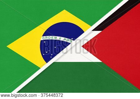 Republic Of Brazil And Palestine, Symbol Of Two National Flags From Textile. Relationship, Partnersh