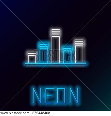 Glowing Neon Line Music Equalizer Icon Isolated On Black Background. Sound Wave. Audio Digital Equal