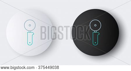 Line Pizza Knife Icon Isolated On Grey Background. Pizza Cutter Sign. Steel Kitchenware Equipment. C