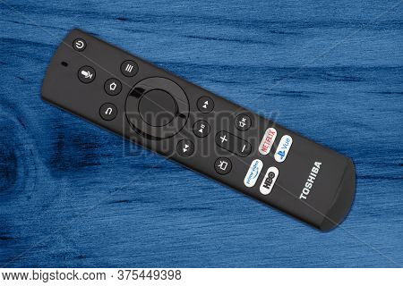 South Carolina, Usa July 2020. Illustrative Editorial Image Closeup Of A Tv Remote Control For Prime