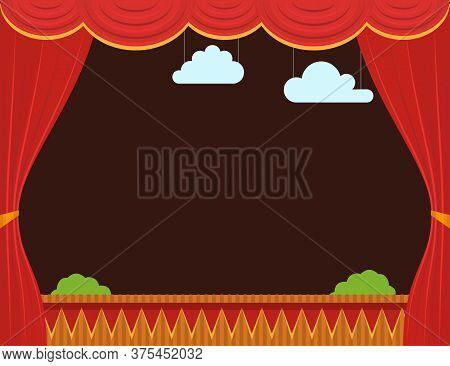 Cartoon Empty Children Puppet Theater With Curtain Background Card Show, Entertainment Or Performanc