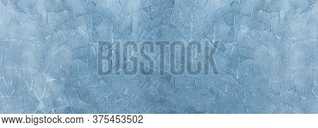 Blue Plaster Or Gypsum Cement Wall Grunge Texture Background For Interior Or Exterior Design.