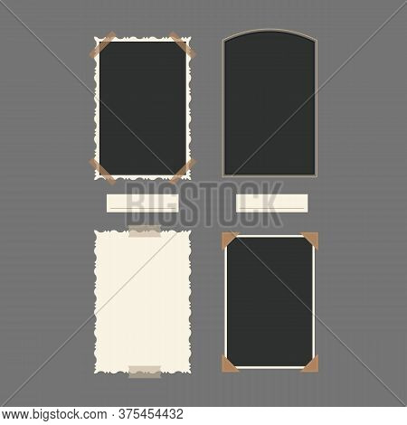 White And Black Blank Retro Photos Empty Template Mockup Vertical Set. Vector Illustration Of Photo