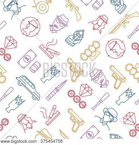 Mafia And Gangster Thin Line Seamless Pattern Background On A White Include Of Gun, Killer, Robber,