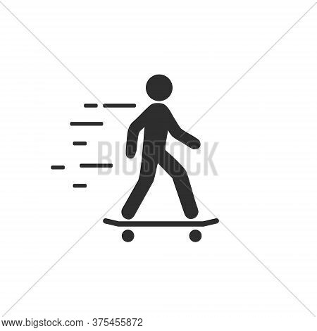 Skateboarder Icon Illustration Isolated On A White Background