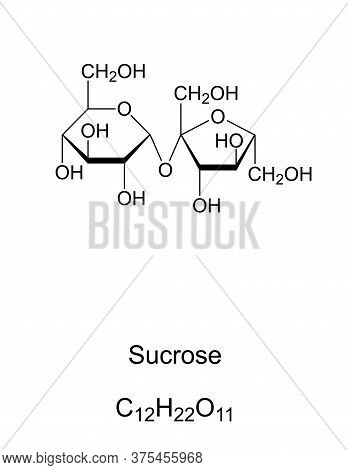 Sucrose, Common Sugar, Chemical Structure. Disaccharide Composed Of The Two Monosaccharides Glucose